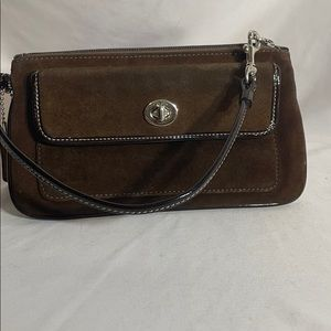 Coach Brown Suede Wristlet Turn Lock Pocket